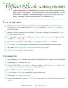 Free Printable Offbeat Bride Wedding Checklist  Wedding Planning