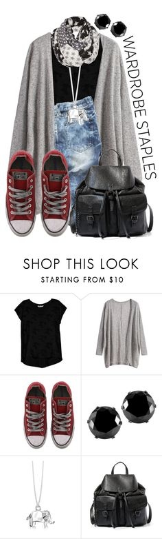 """""""Wardrobe Staples"""" by lululafitte ❤ liked on Polyvore featuring Bobeau, Converse, West Coast Jewelry, Origami Jewellery and Steve Madden"""