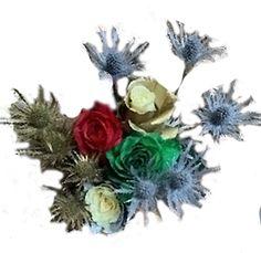 Silver Flowers | Buy Silver Flowers Online | Silver Rose | Silver Thistle Gerbera Daisy Centerpiece, Rose Flower Arrangements, Flower Centerpieces, White Rose Flower, Red And White Roses, White Lilies, Flowers Online, All Flowers, Silver Flowers