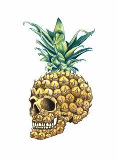 Pineapple Skull Cross Stitch Pattern by Kustom Cross Stitch Pineapple Tattoo, Pineapple Art, Pineapple Drawing, Pineapple Wallpaper, Frida Art, Hobbies For Women, Illustration, Skull And Bones, Mellow Yellow
