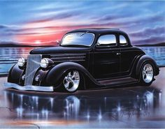 1936 Ford 5 Window Coupe Streetrod Car Art Print 11x14 36