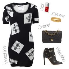 """""""🛍"""" by xofashionismylovexo ❤ liked on Polyvore featuring Moschino, Chanel, Valentino, Christian Dior and Bold Elements"""
