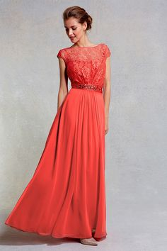 Womens coral red lori lee lace maxi dress sl from Coast - £185 at ClothingByColour.com