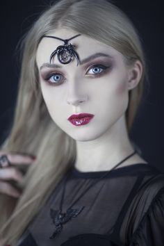 Spellbound by Absentia Veil's look, wearing her 'Witchcraft' pendant as a head piece  Summon yours from www.trickery.com.au #witchy #witchcraft #nugoth #goth #gothgirl #gothjewelry #pentacle #alternative