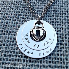 Hand stamped stacked washer necklace. Personalize this with your own saying, quote or names of loved ones.