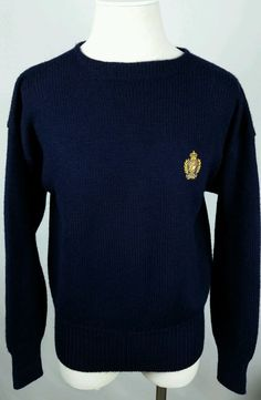 a6a3bfaa6c Vintage POLO RALPH LAUREN Mens XL 100% Wool Thick Heavy Sweater POLO Crest  Blue  PoloRalphLauren  Crewneck