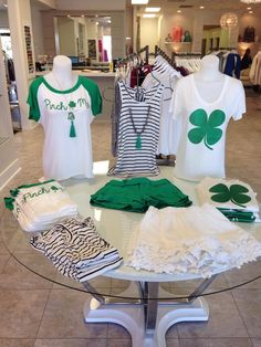 Getting ready for St.Patricks day at Virgo!!! Tees $28 Tank $24 Green shorts $38 White shorts $38 Green tassel necklaces $30 Call us at 225-644-9900 if you would like to order!