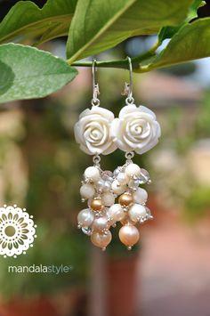 White Roses & Pearl Earrings