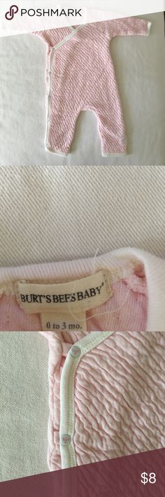 Burt's Bees Baby Sleeper Sweet baby pink sleeper with side snap closure. 100% cotton with quilted type feel to fabric. Very cozy little outfit! Washed in Dreft but never worn. Burt's Bees Baby One Pieces Bodysuits