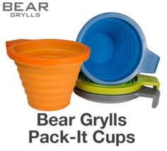 Bear Grylls Combo Set of 4 Pack Cups  Camping and Backpacking Utensils  Blue Green Orange and Grey *** For more information, visit image link.