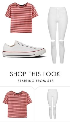 """""""Striped T-shirt"""" by cookieluva8910 ❤ liked on Polyvore featuring WithChic, Topshop, Converse and stripedshirt"""