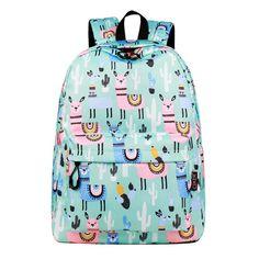 ee1e73b54887 CIKER Waterproof Women Backpack Cute Bookbag Pink Alpaca Animal Knapsack  Printing School Bagpack Bag for Teenage