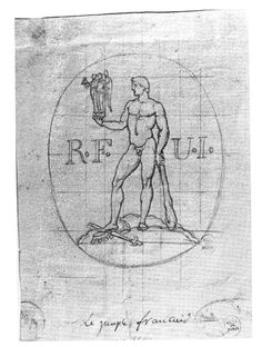 In 1793 and 1794 it was suggested that Marianne should be replaced by Hercules. The engraver Dupré suggested this new icon: a giant Hercules would hold Marianne and the personification of Justice in his right hand.