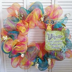 Bright Deco Mesh Owl Wreath  Available at:  https://www.etsy.com/listing/150054419/bright-deco-mesh-wreath-owl-welcome