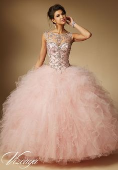 Quinceanera dresses by Vizcaya Jeweled Beading on Ruffled Tulle Matching Stole. Available in Blush, Coral, Mint, White: