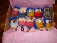 Green Dog blue owl ornaments