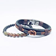 Kit 2 pulseiras masculinas couro jaspe Mais