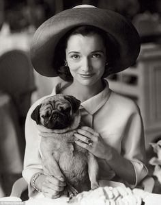 Lee Radziwill with Thomas her pug, photo by Henry Clarke for Vogue, 1954