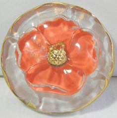 Four Petal Flower Czech Glass Button by MostlyButtons on Etsy Button Art, Button Crafts, Large Buttons, Vintage Buttons, Gold Highlights, Button Flowers, Beaded Brooch, Sewing A Button, Peach Colors