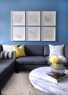 Cutler Design Construction - living rooms - CB2 Smart Round Marble Top Coffee Table, living room, blue walls, blue living room walls, art ga...