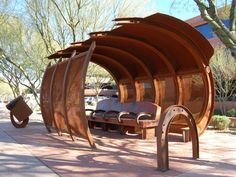 Photo by Scottsdale Public Art Photo by Lisa E White If you have to wait for a city bus, a nice shady shelter is available in several . Bus Stop Design, Bus Shelters, Shelter Design, Entrance Design, Famous Architects, Bus Station, Booth Design, Dog Houses, Outdoor Rooms