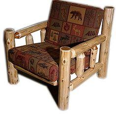 White cedar log futon chair