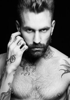 beard, tattoos, nose ring, and chest hair....sent from heaven