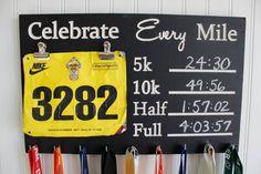 Race Medal Display Chalkboard Celebrate Every Mile Medal holder and bib holder - Carved Sign - Running Medal Holder- Bib Holder