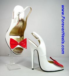 ForeverHeels Style OT_SLING, Open Toe Slingback Sandals with Bows, White PU Shoes, Red Bows