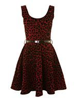 Leopard Flocked Skater Dress with Patent