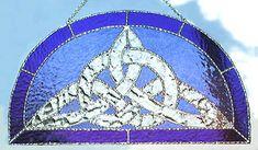 "Blue & Clear Celtic Knot Suncatcher in Stained Glass - 9"" x 17"" - $64.95 --- Celtic Designs, Irish Designs, Irish Sun Catchers - Glass Suncatchers, Stained Glass Décor, Stained Glass Sun Catchers -  Stained Glass Design - See more stained glass designs at www.AccentonGlass.com"