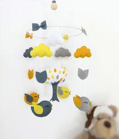 Suspension lit bébé mobile berceau . Décoration pour chambre de bébé avec oiseaux , arbre nuages et feuilles : Jeux, peluches, doudous par packetcadeau