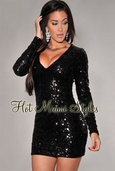 Black Allover Sequined Long Sleeves Dress Womens clothing clothes hot miami styles hotmiamistyles hotmiamistyles.com sexy club wear evening  clubwear cocktail party kim kardashian dresses
