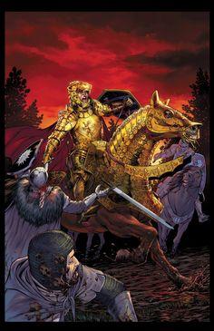 Jaime (Battle in the Forest whispering) Game Of Thrones Story, Arte Game Of Thrones, Fantasy Armor, Medieval Fantasy, Familia Lannister, King Of Swords, Character Art, Character Design, Mtg Altered Art