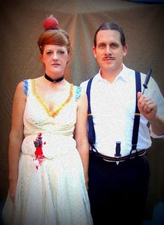 Love the simple, old-timely feel of this couple! knife thrower and assistant Circus Party Costume, Halloween Circus, Halloween Goodies, Family Halloween, Halloween Horror, Halloween Town, Holidays Halloween, Vintage Halloween, Halloween Stuff
