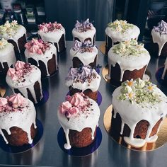 You could put anything on top.maybe better option than a large cake Köstliche Desserts, Delicious Desserts, Mini Cakes, Cupcake Cakes, Cupcakes For Sale, Cake Decorating Amazing, Easter Cookies, Pastry Cake, Easter Brunch