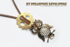 Owl n Gear Necklace by thesugartoothdragon on Etsy, $35.00