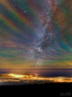 Incredible!! This phenomenon is called 'rainbow airglow', and was captured over the Azores islands in Portugal last month. The colours are actually always there, but it takes the disturbance of an approaching storm to make them more visible.  Here's what makes up the rainbow, shot by photographer Miguel Claro: http://go.nasa.gov/1RwU8M9