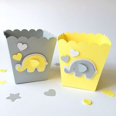 Items similar to Gray Yellow Popcorn Candy Favor Boxes Elephant Baby Shower Decor Boy Girl 1 st Birthday Party Candy Buffet Table Dessert Bar Supply on Etsy Deco Baby Shower, Fiesta Baby Shower, Grey Baby Shower, Shower Bebe, Baby Shower Favors, Baby Shower Cakes, Baby Shower Parties, Baby Shower Themes, Baby Boy Shower