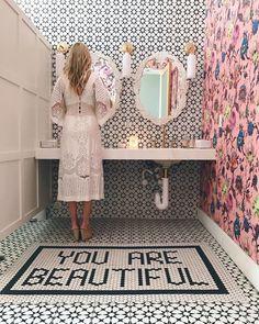 'You are beautiful' black and white bathroom floor tiles Black And White Bathroom Floor, Initial Coffee Mugs, Restaurant Bathroom, Girly, Girl House, I Wallpaper, Bathroom Inspiration, Bathroom Inspo, Bathroom Ideas