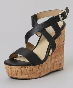 Look at this #zulilyfind! Black Crisscross Wedge Sandal by Carrini #zulilyfinds