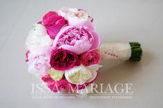 buchet mireasa roz pal si roz aprins