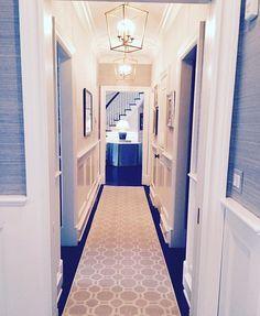 Grass cloth in hallway