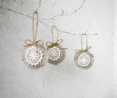 Holiday ornaments, shabby, chic, eco friendly, linen and lace - set of 3