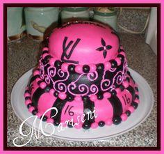 one of my first - Pink & Black LV Sweet 16 Cake by Slice of Sweet Art - Custom Cakes, via Flickr