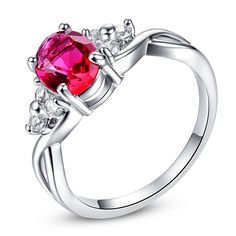 Angle Cocktail Ruby White CZ Diamond Ring