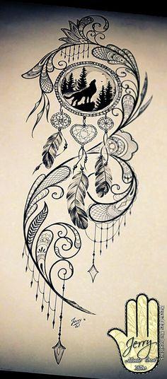Beautiful tattoo design for a thigh, dream catcher tattoo, wolf -. - Beautiful tattoo design for a thigh, dream catcher tattoo, wolf tattoo idea … - Feather Tattoos, Leg Tattoos, Body Art Tattoos, Sleeve Tattoos, Dreamcatcher Tattoos, Theigh Tattoos, Tattos, Gemini Tattoos, Anchor Tattoos