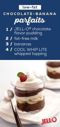 Low-Fat Chocolate-Banana Parfaits – The beauty of this parfait recipe isn't just the creamy chocolate pudding and sweet banana or how easy it is to create—it's that it's a Healthy Living dessert! Low Fat Desserts, Sugar Free Desserts, Healthy Desserts, Delicious Desserts, Parfait Recipes, Ww Recipes, Gourmet Recipes, Dessert Recipes, Recipies