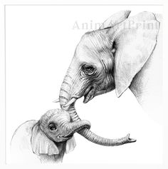 Mothers day Gift Safari Nursery Decor Elephant Mother and Baby Baby Elephant Drawing, Elephant Sketch, Mom And Baby Elephant, Baby Drawing, Elephant Art, Realistic Elephant Tattoo, Elephant Drawings, Realistic Animal Drawings, Elephant Tattoo Design