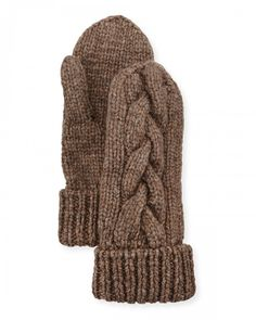 Il Borgo Cashmere Cable Knit Mittens Gray   Gloves and Accessory